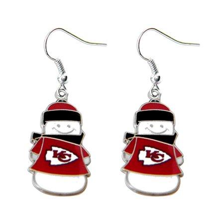 NFL Kansas City Chiefs Snowman Holiday Dangle Logo Earring Set Charm Gift - image 1 de 3