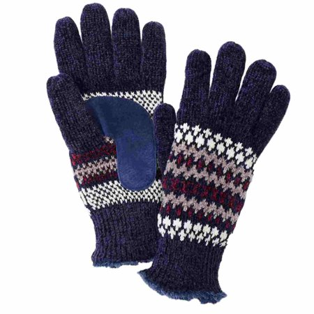 Isotoner Womens Blue Fairisle Chenille Snowflake Knit Gloves Microluxe