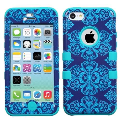 Insten Purple/Blue Damask/Black TUFF Hybrid Phone Case For Apple iPhone 5C