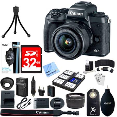 Canon EOS M5 Mirrorless Digital Camera Black + EF-M 15-45mm IS STM Lens Kit+ 32GB SDXC Memory Card + 8 Pcs Accessory Bundle