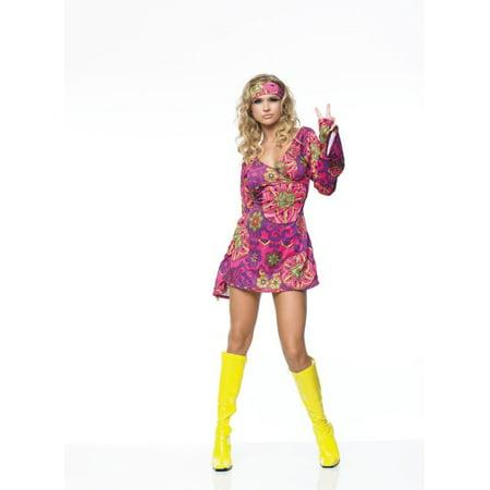 Leg Avenue Women's 2 Piece Hippie Girl Costume Retro Print Bell Sleeves Go Go Dress With Head Band,