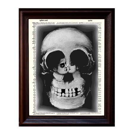 Skull and Lovers Illusion - Dictionary Art Print Printed On Authentic Vintage Dictionary Book Page - 8 x