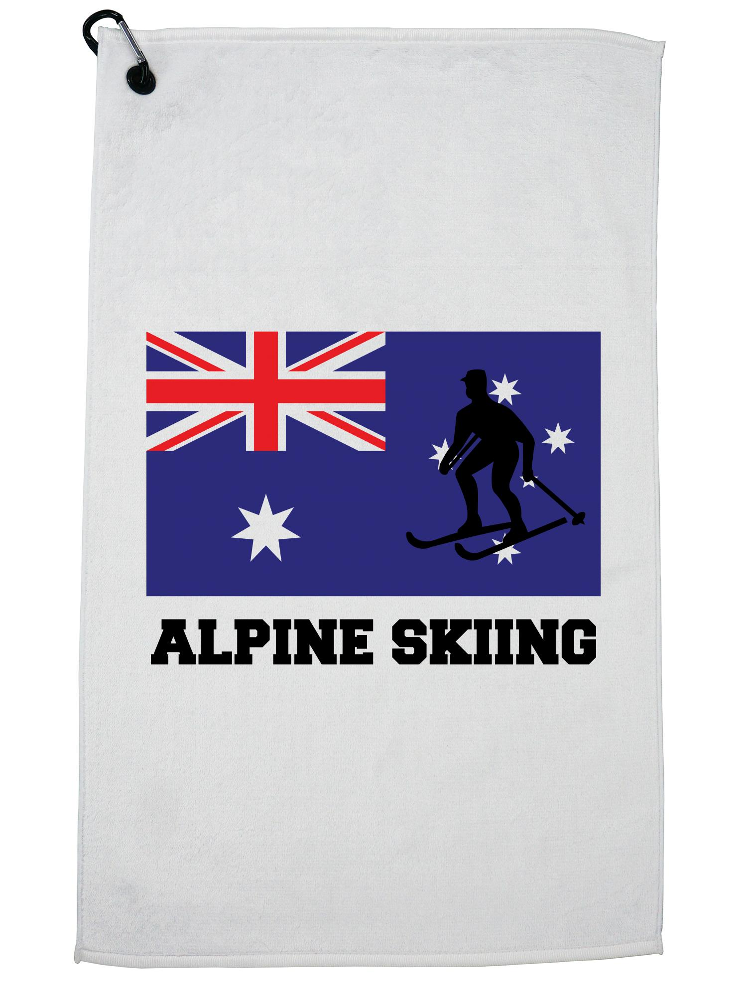 Australia Olympic Alpine Skiing AUS Flag Silhouette Golf Towel with Carabiner Clip by Hollywood Thread