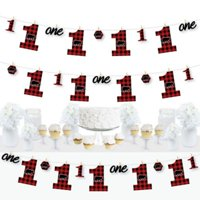 1st Birthday Lumberjack - Channel the Flannel - Buffalo Plaid First Birthday Party DIY Decorations - Clothespin Garland Banner - 44 Pieces