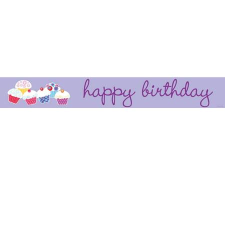Sweet Cupcake Happy Birthday Foil - Cupcake Happy Birthday Banner