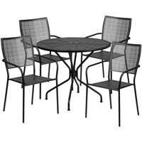 Flash Furniture 35.25'' Round Black Indoor-Outdoor Steel Patio Table Set with 4 Square Back Chairs