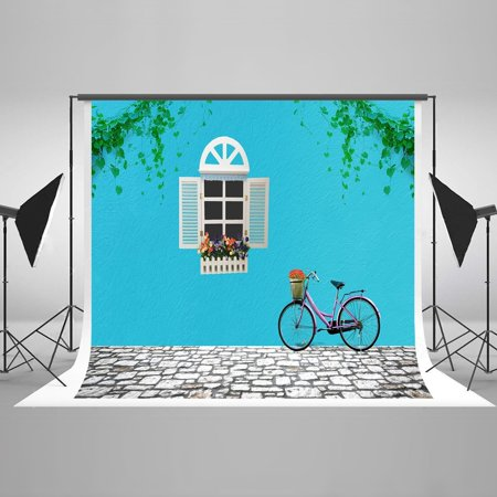 HelloDecor Polyster 7x5ft Fresh Little Cottage Scenery Photography Backdrops Blue Wall with White Windown Shoot Background Stone Road Backdrop Photo Studio - Stone Wall Background
