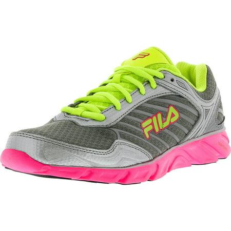 Fila Women's Memory Fresh Dark Silver Neon Pink Green Ankle High Running Shoe 7.5M