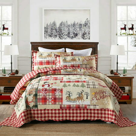 MarCielo 3 Piece Christmas Quilt Set Rustic Lodge Deer Quilt Quilted Bedspread Printed Quilt Bedding Throw Blanket Coverlet Lightweight Bedspread Queen Size BY010 ()