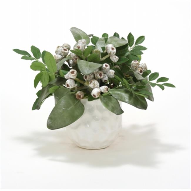 Distinctive Designs International 1918 Winter Grasses in White Gabbi Pot