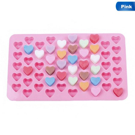 Fancyleo Kitchen Baking Tools 55 Holes Cute Heart Style Silicone Chocolate Mold Ice Candy Lolly Muffin Mould Valentine Gift Maker ()