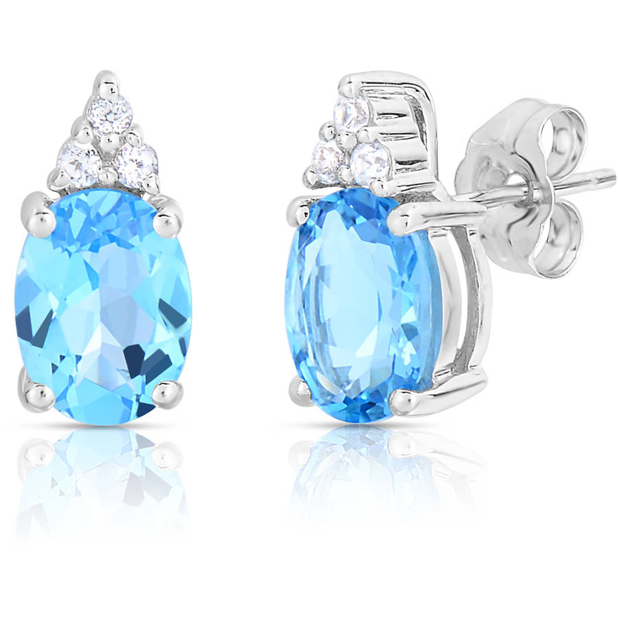 Genuine Blue and White Topaz 10kt White Gold Earrings