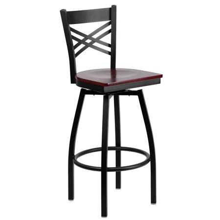 Mahogany Swivel Stool - Black ''X'' Back Swivel Metal Barstool - Mahogany Wood Seat