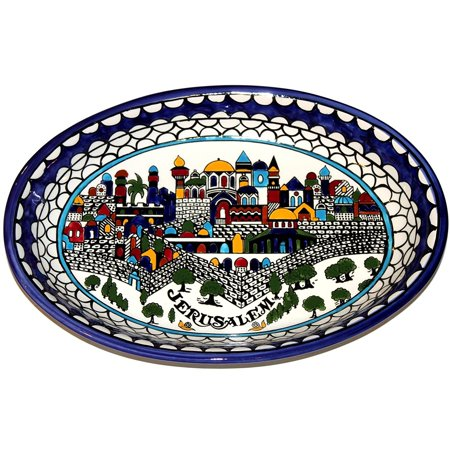 Armenian hand painted with Jerusalem city walls and gates view serving oval ceramic bowl - extra Large (15.5 Inch long b