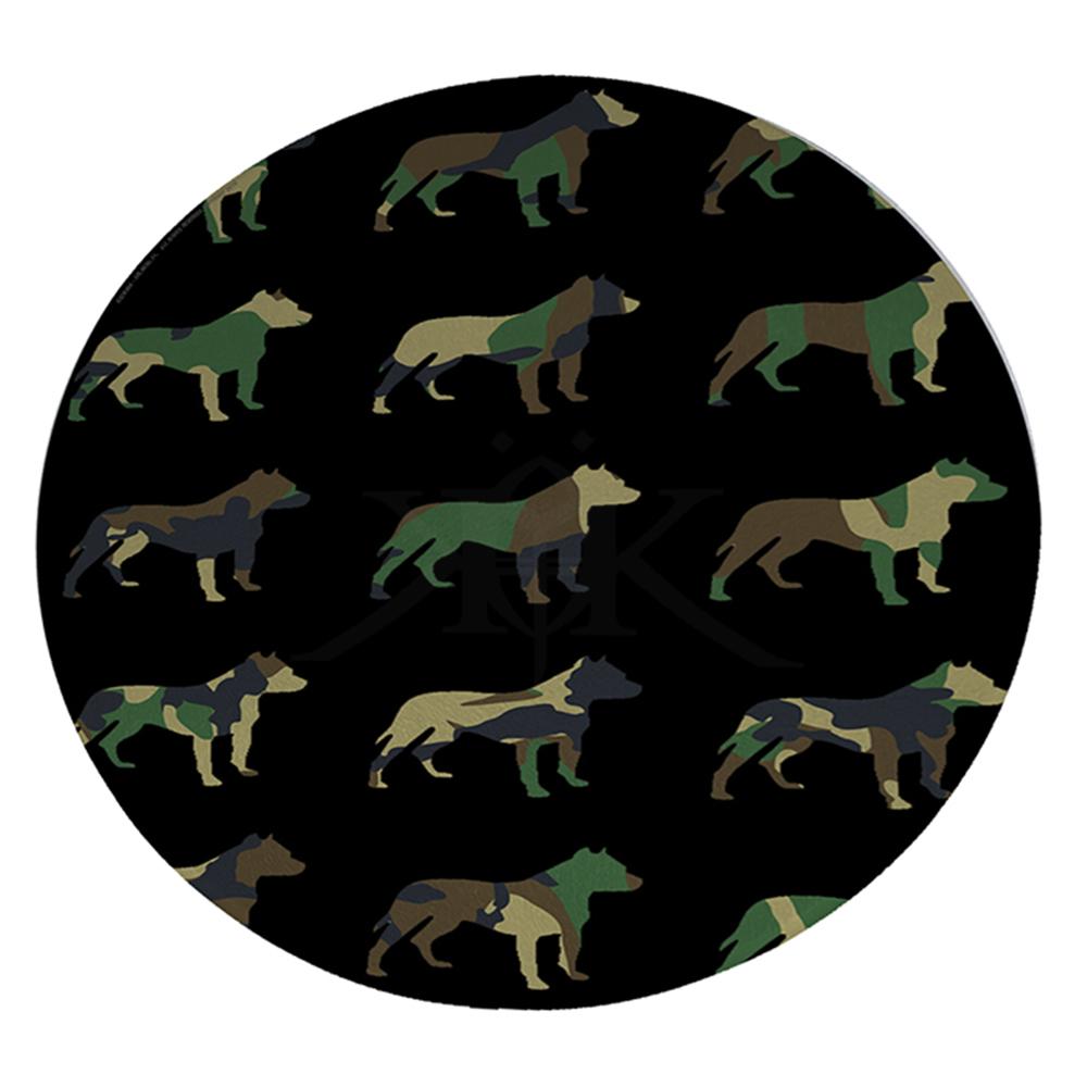 """KuzmarK 12"""" Round Glass Cutting Board - Pitbull Camoflauge"""