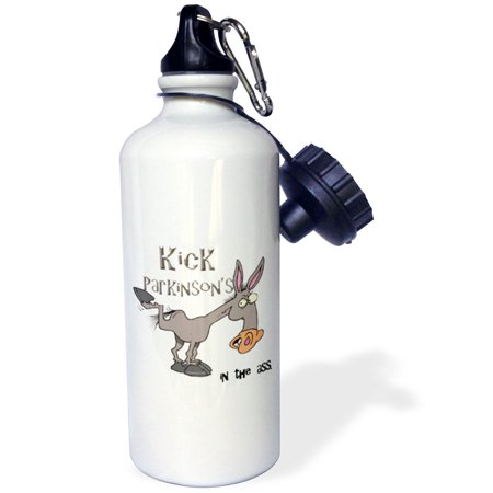 3Drose Kick Parkinsons Disease In The Ass Awareness Ribbon Cause Design  Sports Water Bottle  21Oz