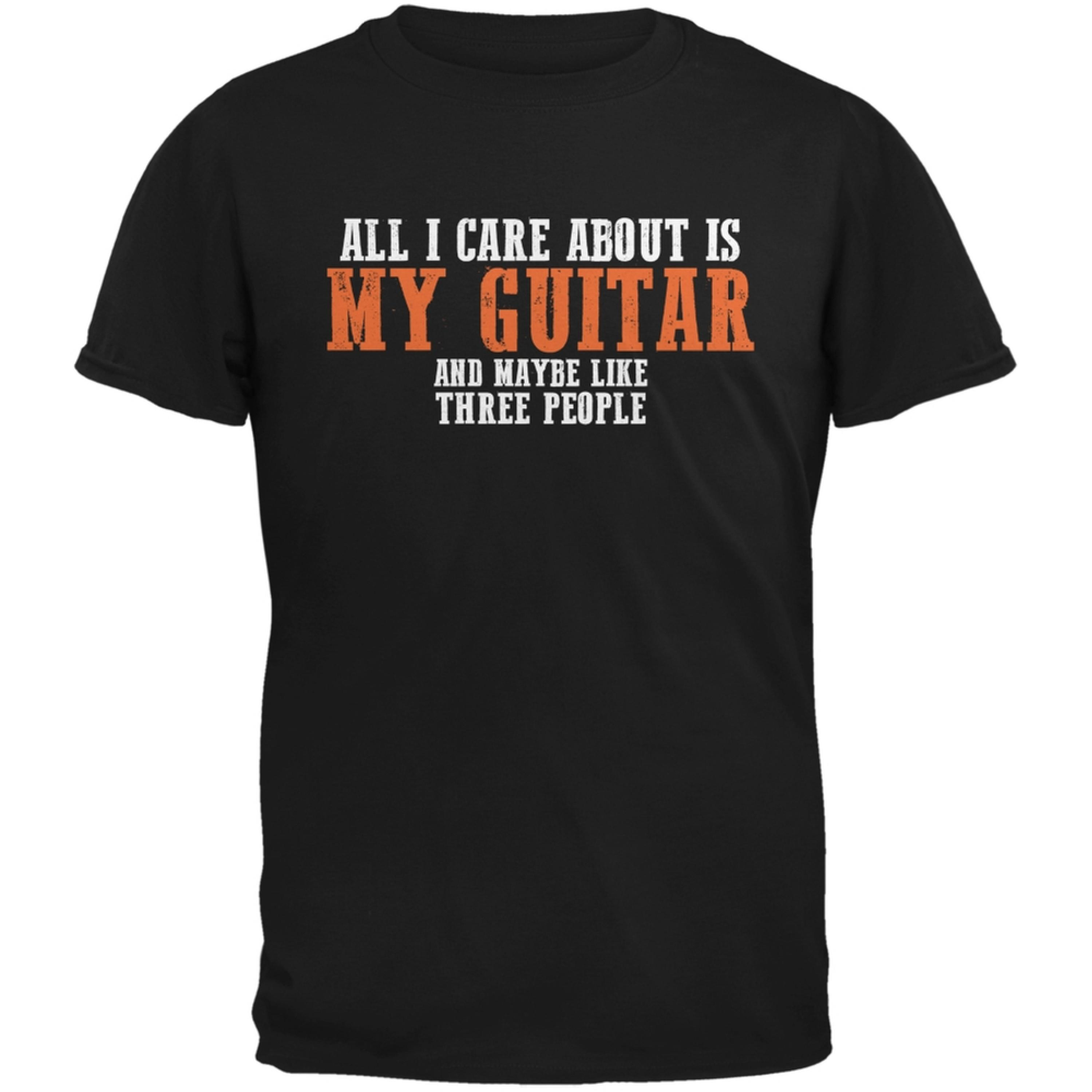 Sarcastic Care About My Guitar Black Adult T-Shirt