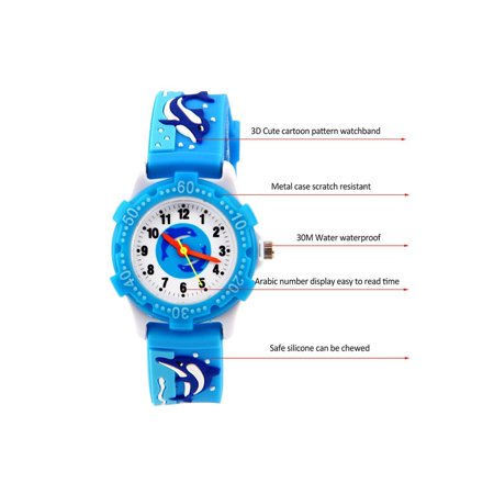 ELEOPTION Waterproof 3D Cute Cartoon Digital Silicone Wristwatches Time Teacher Gift for Little Girls Boy Kids Children