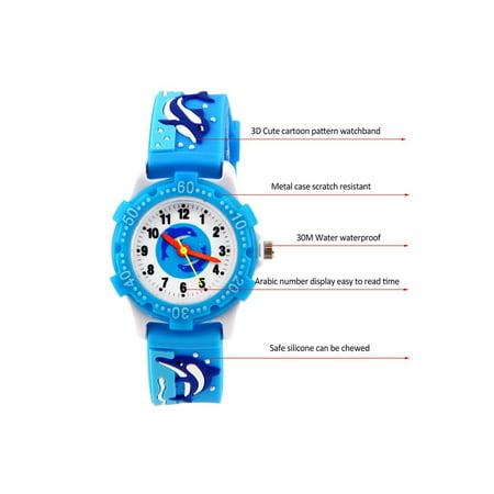 - ELEOPTION Waterproof 3D Cute Cartoon Digital Silicone Wristwatches Time Teacher Gift for Little Girls Boy Kids Children
