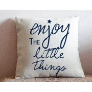 "Popeven Enjoy the little things Cozy Cotton Blend Decorative Throw Pillow Case Cover for Sofa or Living Room Home Decor , 18""x 18"" Cushion Cover (Light Brown)"