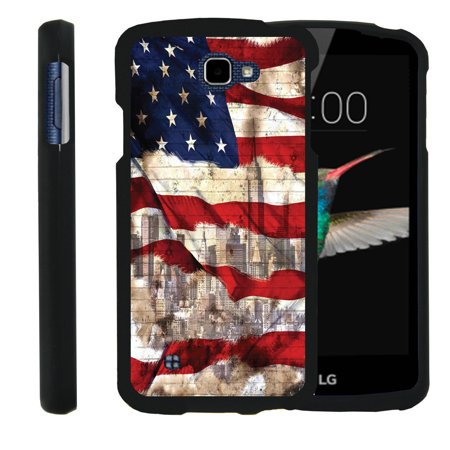 LG K4, LG Rebel, LG Spree, LG Optimus Zone 3, [SNAP SHELL][Matte Black] Snap On Hard Plastic Protector with Non Slip Coating with Unique Designs - New York USA Flag