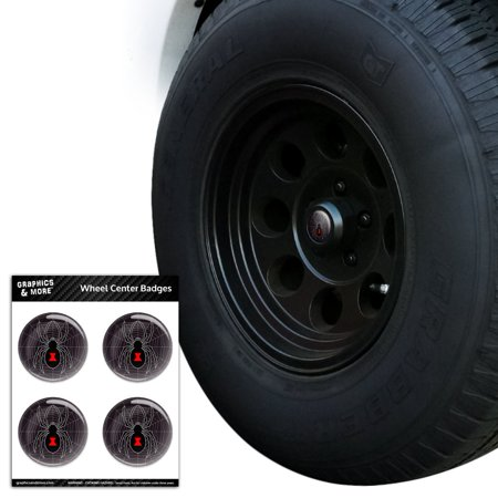 Black Widow Spider on Web Tire Wheel Center Cap Resin-Topped Badges Stickers - 2.0