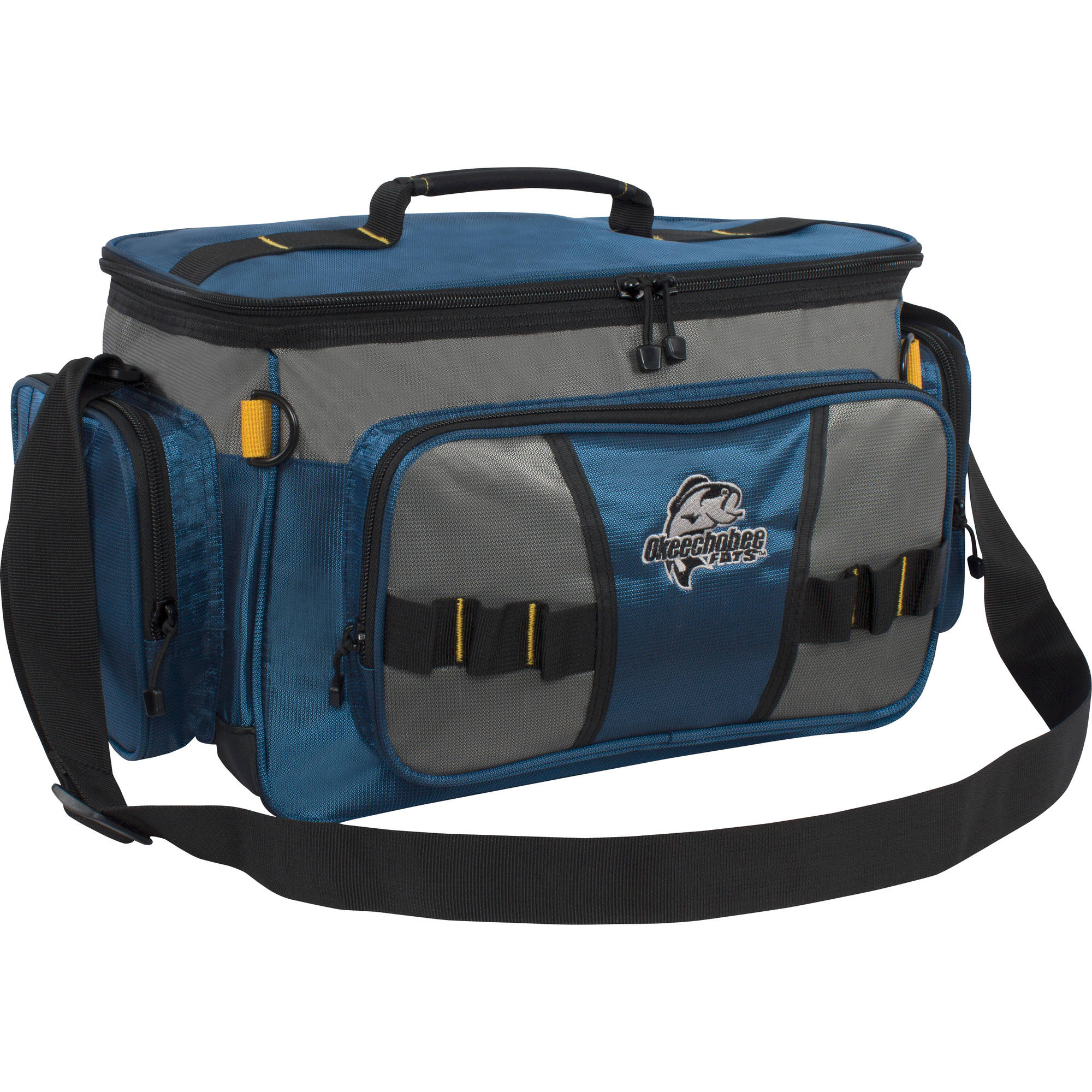Okeechobee Fats Large Soft-Sided Tackle Bag with 2 Large Utility Lure Box Storage Containers, Blue