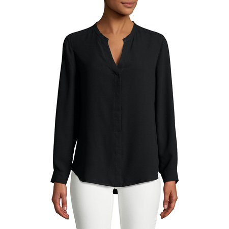 Anne Klein Womens V-Neck Button Up Shirt