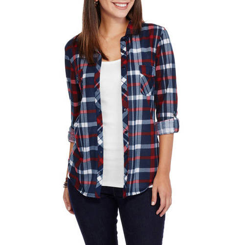 Brooke Leigh Women's Double Front Pocket Plaid Shirt with Roll Cuff Sleeves