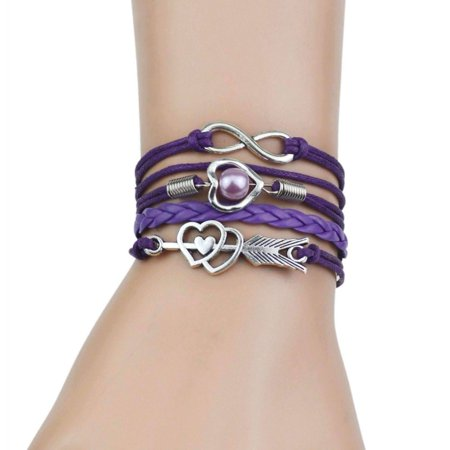 CLEARANCE - Forever Love Handmade Braided Leather Friendship Bracelet - Six Colors To Choose Purple