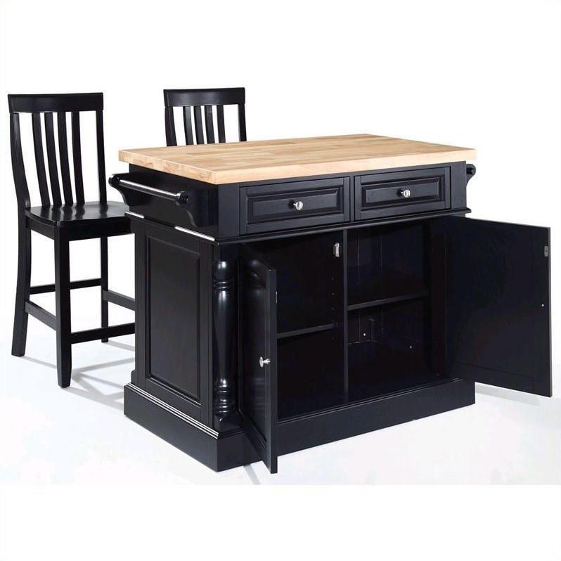 Crosley Oxford Butcher Block Top Kitchen Island with Stools in Black - image 2 of 4