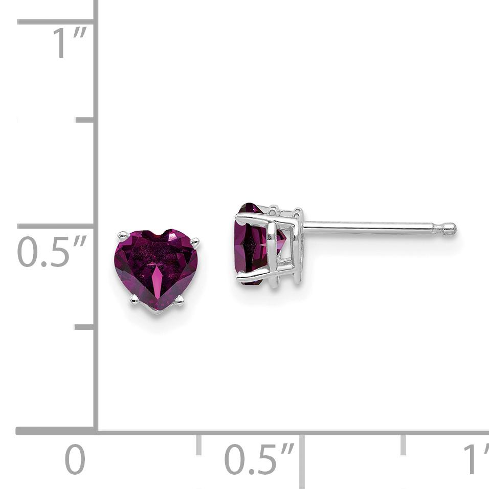 14k White Gold 5mm Heart Rhodolite Red Garnet Post Stud Earrings Love Fine Jewelry Gifts For Women For Her - image 1 de 2