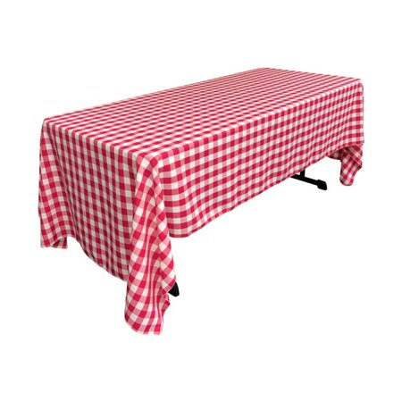 LA Linen TCcheck60x120-FuchsiaK49 Polyester Gingham Checkered Rectangular Tablecloth, White & Fuchsia - 60 x 120 - Gingham Linen