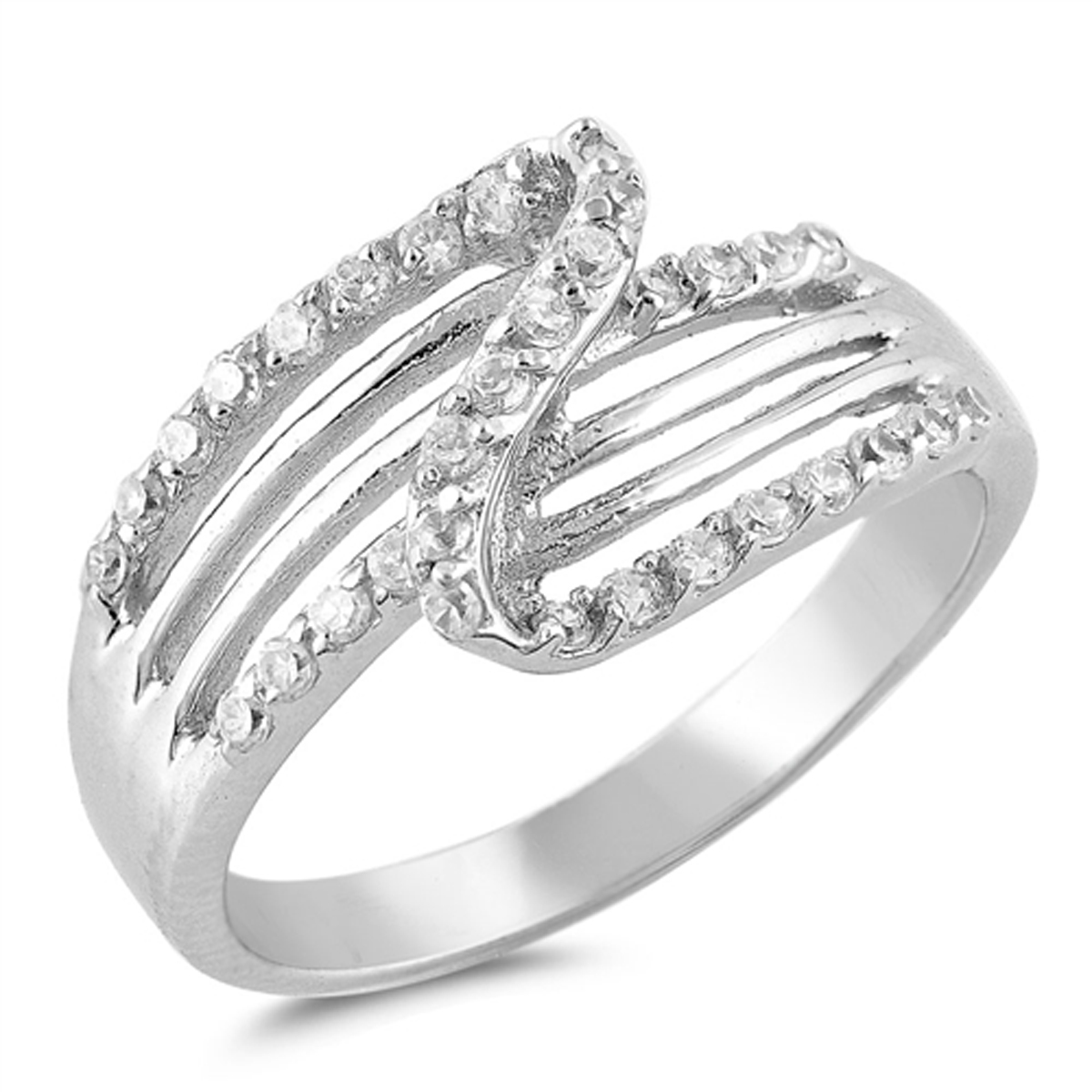 Sterling Silver Women's Flawless Colorless Cubic Zirconia Micro Pave Wedding Ring (Sizes 5-9) (Ring Size 9)