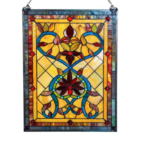 River of Goods 24 in. Stained Glass Fiery Hearts and Flowers Window Panel (Stained Glass Girl)