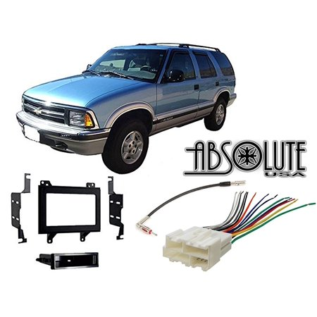 Absolute RADIOKITPKG5 Fits Chevy Blazer 1998-2001 Single DIN Stereo Harness Radio Install Dash Kit