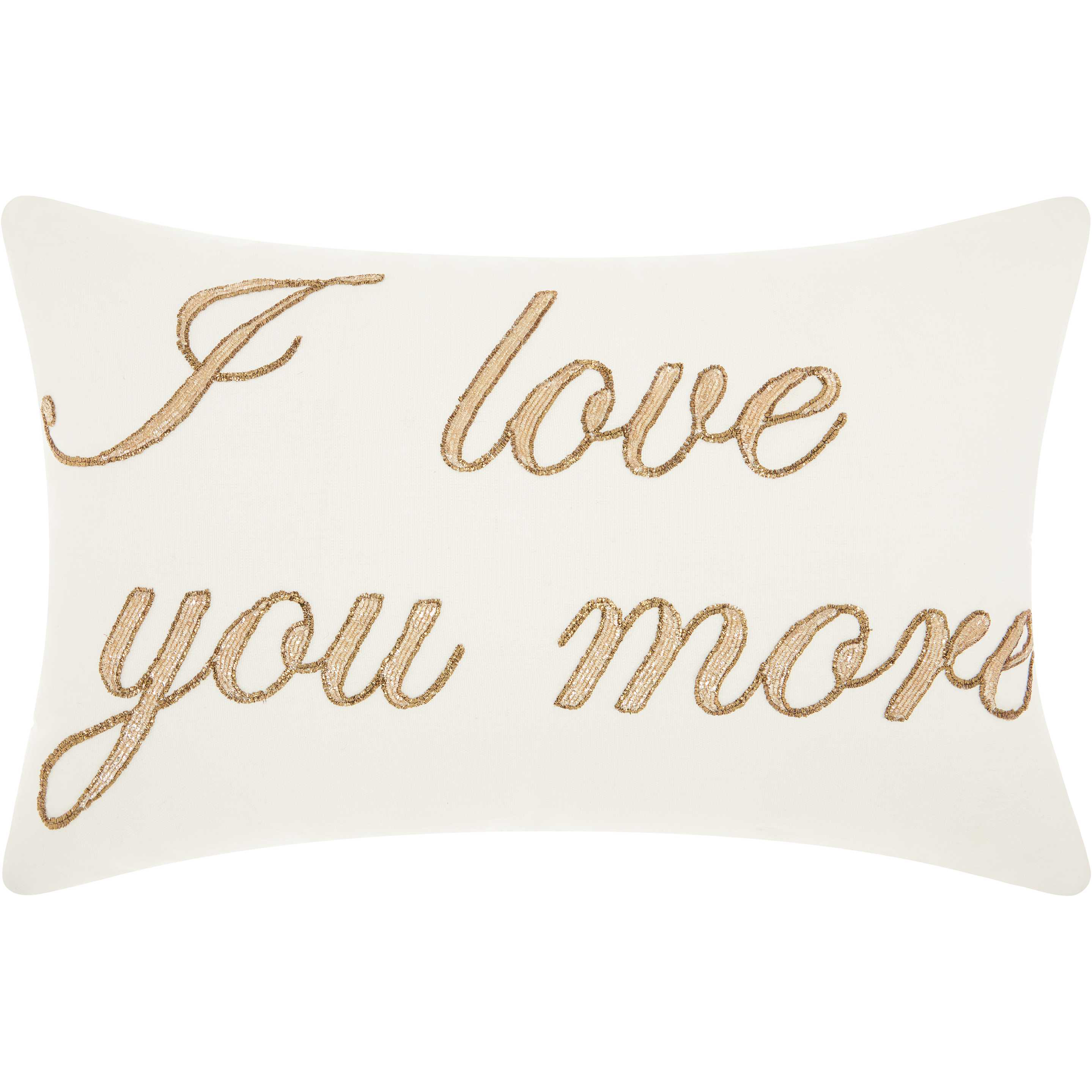 "Nourison Luminecence ""I Love You More"" White Throw Pillow by Nourison"