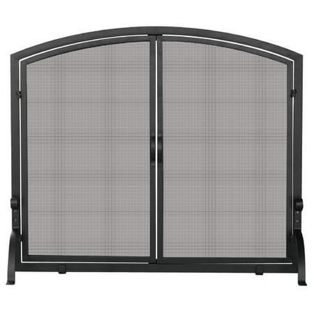 Natural Wrought Iron Screen - Uniflame Corporation Single Panel Wrought Iron Fireplace Screen
