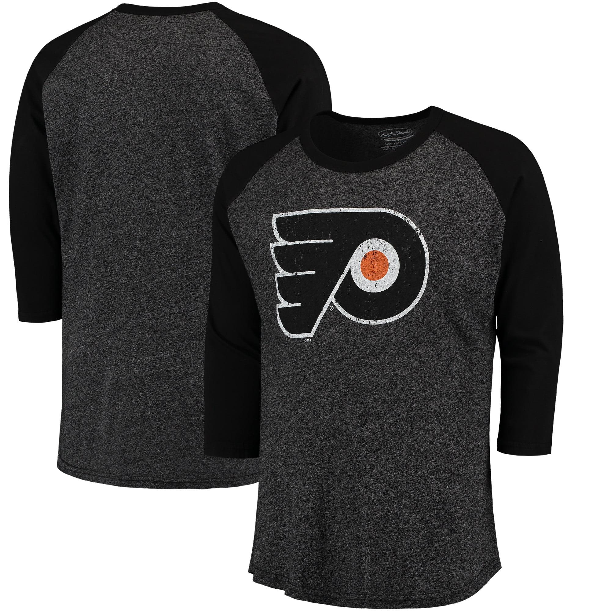 ba92fecc5 Philadelphia Flyers Majestic Threads Tri-Blend 3 4-Sleeve Raglan T-Shirt -  Black