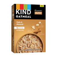 KIND Breakfast Instant Oatmeal Made with Whole Grain Oats - Cinnamon & Almonds, Gluten Free with 5g Protein, 6 Packet Count
