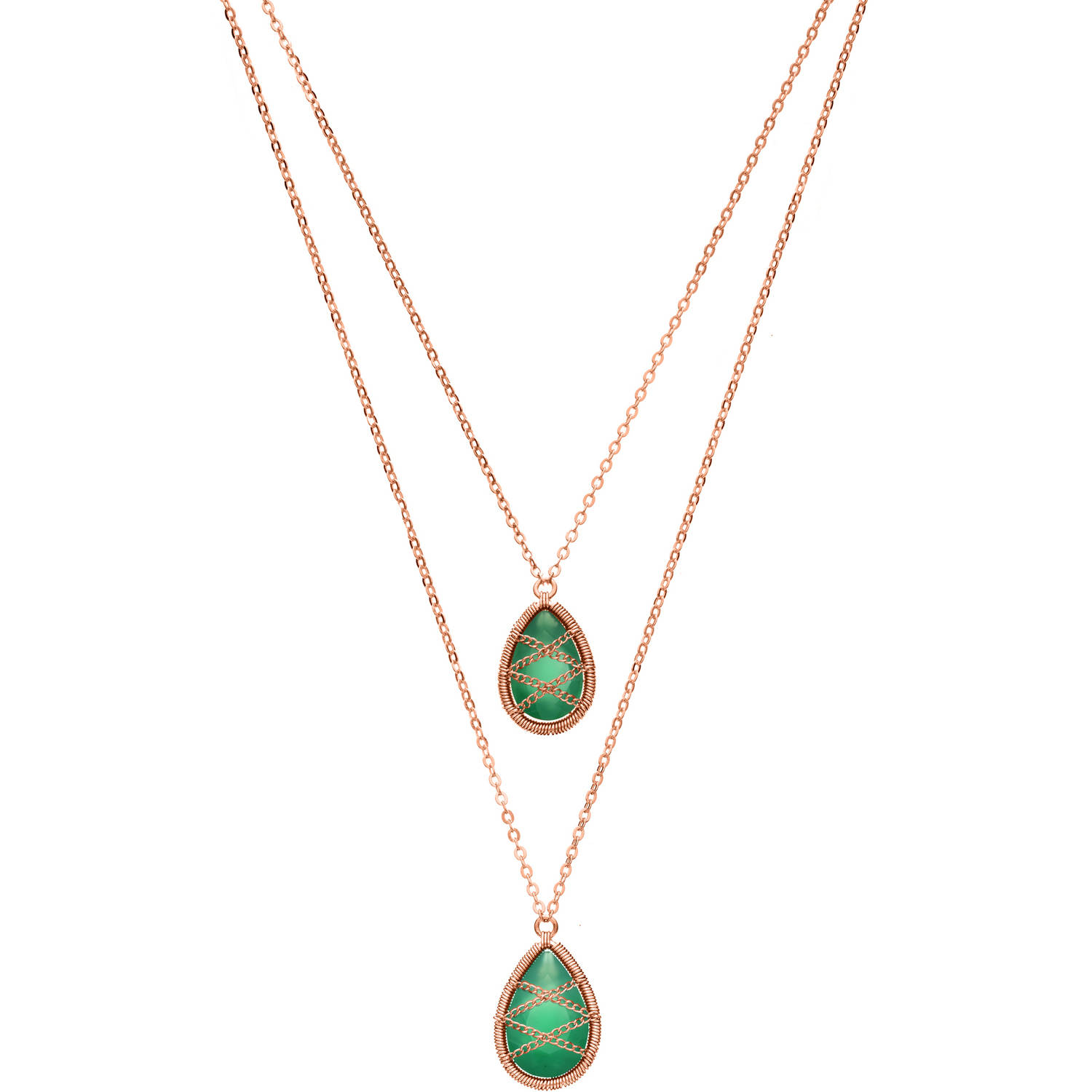 5th & Main Rose Gold over Sterling Silver Hand-Wrapped Bi-Layered Teardrop Chalcedony Necklace by Generic