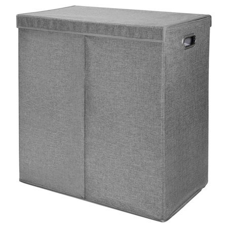 SortWise Foldable Double Laundry Hamper Sorter with Magnetic Lid and Removable Liners Laundry Bin, Build in Side Carrying Handles, Gray - image 1 of 5