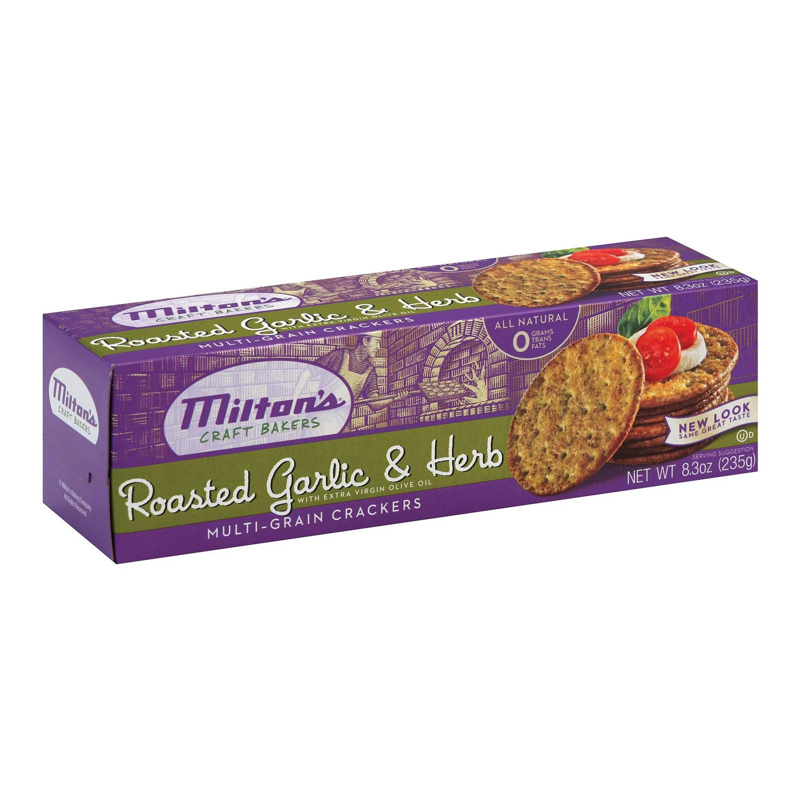 Milton's Crackers - Roasted Garlic And Herbs - Pack of 12 - 8.3 Oz.