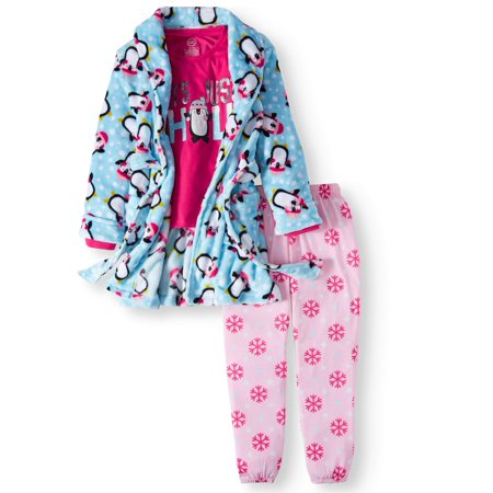 Wonder Nation Girls Pajama 3 Piece Robe Set Penguin - Cute Dresses For Girls 10-12
