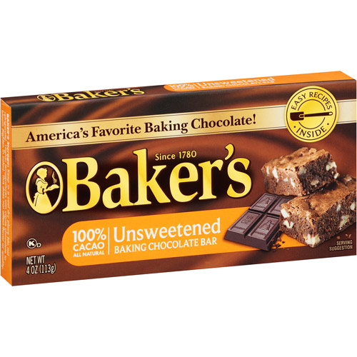 Kraft Baker's Unsweetened Baking Chocolate Bar, 4 oz
