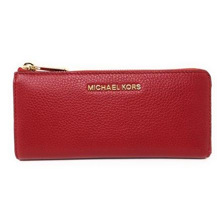 Scarlet Jet - Michael Kors Jet Set Large Three Quarter Zip Around Pebbled Leather Wallet (Scarlet Red)