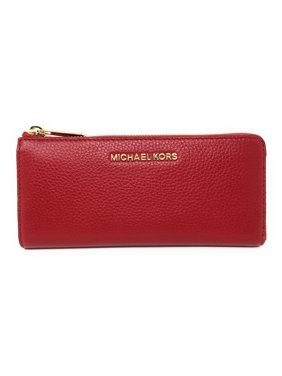 c0633eeead66 Product Image Michael Kors Jet Set Large Three Quarter Zip Around Pebbled  Leather Wallet (Scarlet Red)