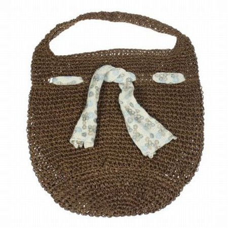 Large Woven Straw Shoulder Bag Fully Lined Knit Scarf Detail Hobo Slouch Beach