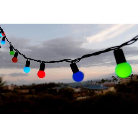 Fantado 50 Indoor/Dry Outdoor Multi Color RGB LED Globe Ball String Lights, 17FT Black Cord by PaperLanternStore ()
