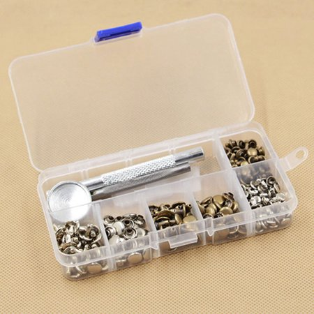 - AngelCity 120 Set Leather Craft Repairing Decoration Rivets Double Cap Rivet Tubular Metal Studs With Fixing Tool Kit